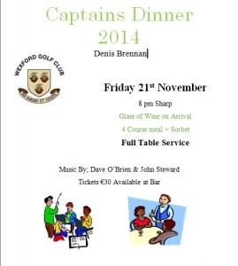 Reminder re Captain's Dinner