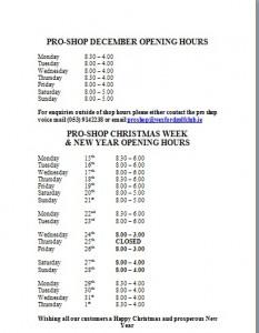 Pro shop hours